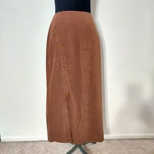 NWT Fashion Bug Faux Suede Lace Up Maxi Skirt 14